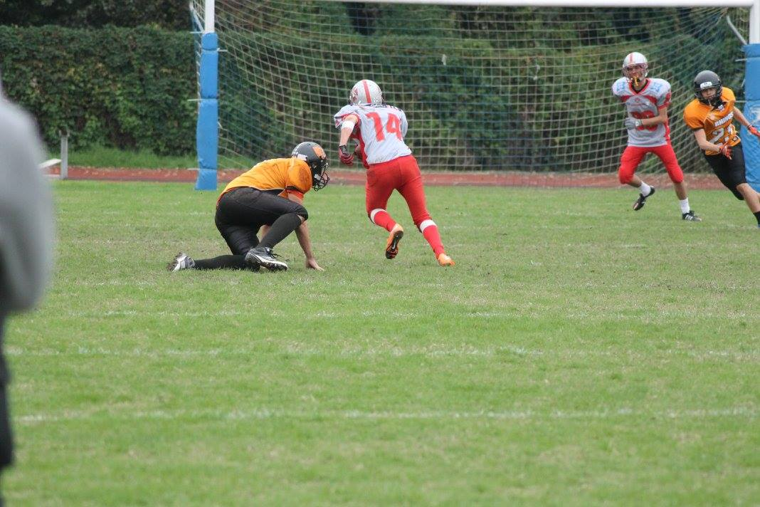 Domenico Bressanello verso il touchdown a Milano (Foto Anna Scolaro)