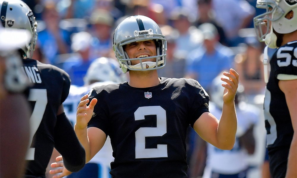 Sep 10, 2017; Nashville, TN, USA; Oakland Raiders kicker Giorgio Tavecchio (2) reacts after scoring a field goal against the Tennessee Titans during the second half at Nissan Stadium. Mandatory Credit: Jim Brown-USA TODAY Sports