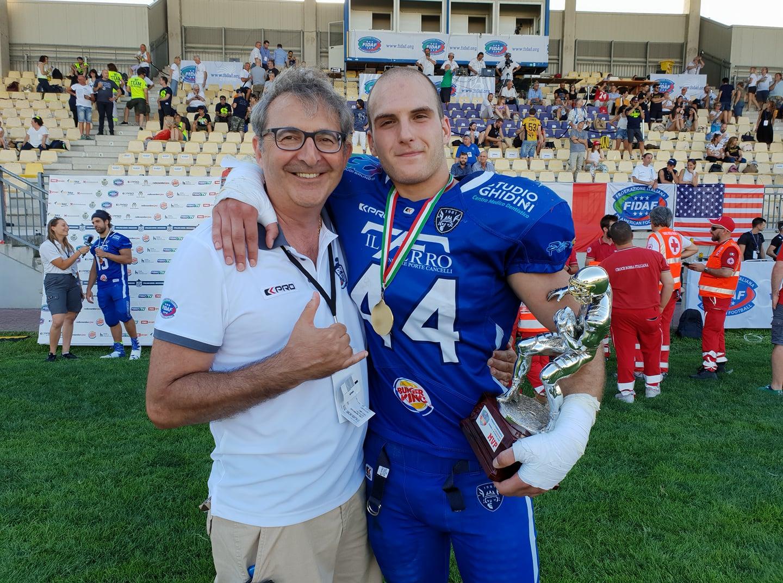 Eugenio Meini con Tiberio Calbucci (Warriors Bologna) al Silver Bowl 2018 - Parma